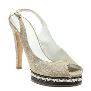 Chanel G28998 Chain Slingback Heels Size 41 185021